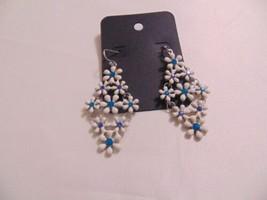 "I.N.C 2.5"" Silver Tone  Blue & White Flower Dangle Drop Earrings N5300 - $10.55"