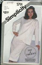 Simplicity 5791 Misses Skirt & Unlined Asymmetrical Wrap Jacket  10 12 14 - $5.50