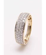 14KT Yellow + White Gold Band Ring with 0.75ct of Natural Brilliant Cut ... - $700.80
