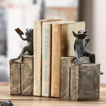 Bibliophile Frogs on Books Bookends Aluminun/Resin,8.5''H. - $100.98