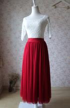 RED Full Tulle Skirts Women Tulle Maxi Skirt Red Wedding Bridesmaid Full Skirts image 4