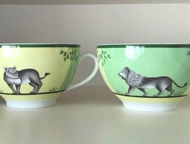 Hermes Porcelain Morning Cup Saucer Africa Green Animal Tableware 2 set ... - $467.15