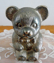 Vintage silver plate Teddy Bear Baby Bank.  It needs to be polished, if ... - $9.99