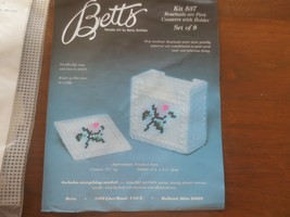 Vintage BETTS Needle Art ROSEBUDS ARE PINK 8 Coasters w/Holder Kit #537 - $7.92