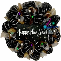 Happy New Year Handmade Deco Mesh Wreath - $92.99