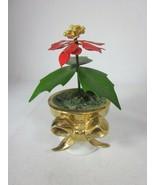 "Vintage Ted Arnold Porcelain Vase Metal Flowers Poinsettia 4"" - $29.69"