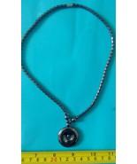 Hematite necklace round /disc shape amulet charm pendnat Philippine made... - $11.39