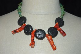 Vintage Turquoise Black Lava Rock Ox Blood Red Coral Branch Choker Necklace - $198.00