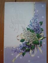 Vintage With Our Sympathy Lilacs Rust Craft Greeting Card  - $2.99