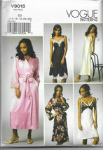 Vogue V9015 Ladies Nightgown & Robe Set Long & Short Size 14-22 Sewing P... - $26.43