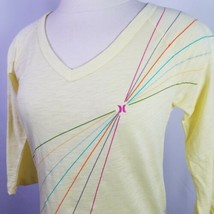 Hurley Sheer Yellow Shirt 3/4 Sleeve Rainbow Ray Womens Size Small Deads... - $22.72