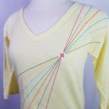Hurley Sheer Yellow Shirt 3/4 Sleeve Rainbow Ray Womens Size Small Deads... - $23.95