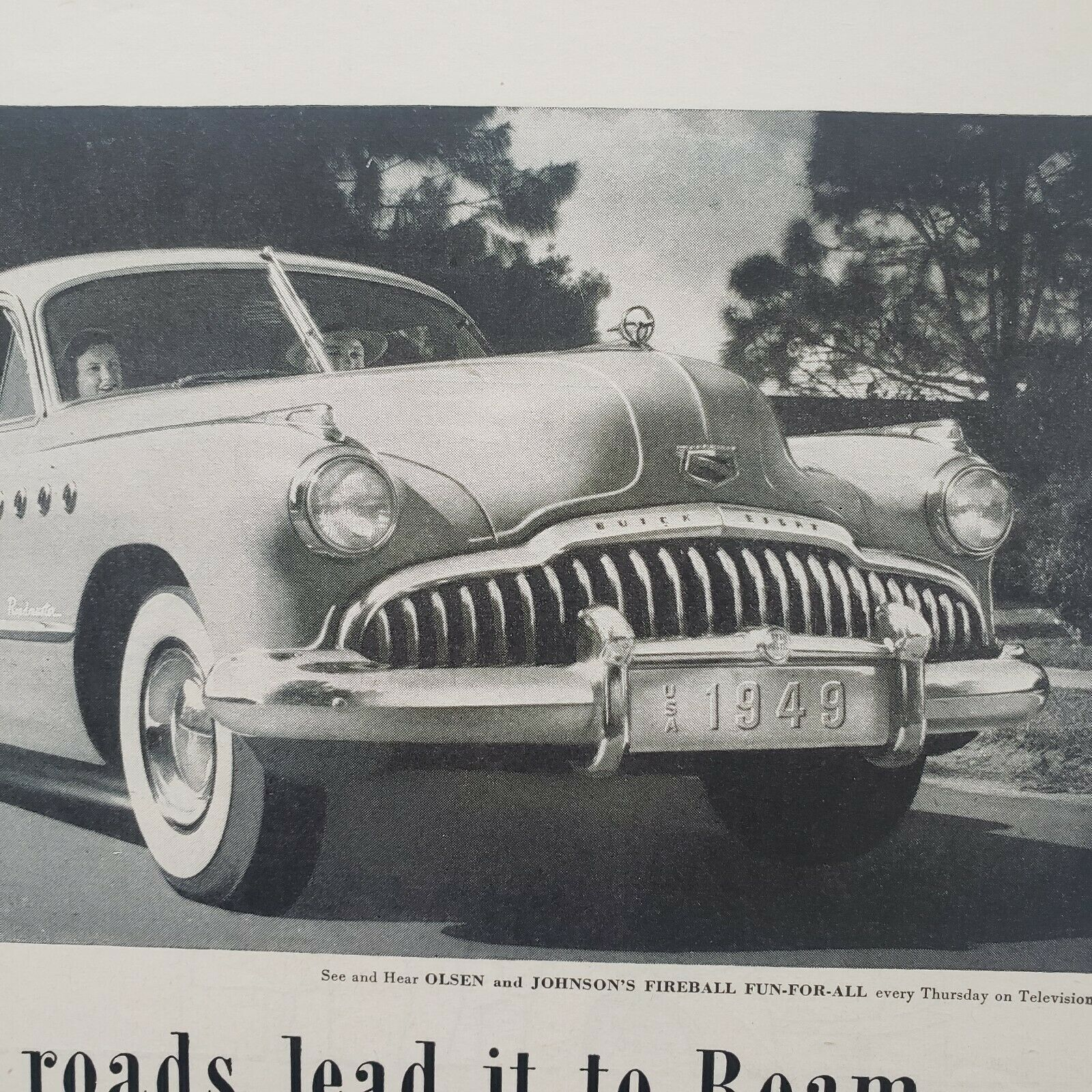 Primary image for 1949 Buick Print Ad Around About Autumn