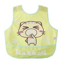 Lovely Cartoon Cat Waterproof PVC Feeding Baby Bibs Yellow