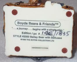 Boyd Bearstone Resin Bears 1993 Bailey Bear With Suitcase Figurine #2000 14E NEW image 4