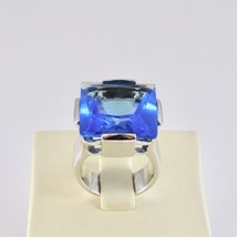 Ring Band Silver 925 Rhodium with Crystal Blue Square Faceted image 2