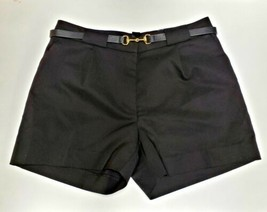 H&M Womens Size 6 Dressy Pleated Front Shorts Stretch Black Belted Buckle - $9.70