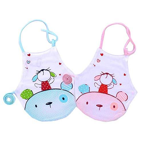 PANDA SUPERSTORE 2 Pieces Infant Baby Bibs Keep Warm Bellyband Pink Blue Mouse B
