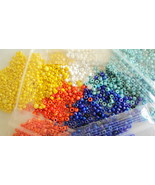 Five pack of seed beads-800 each of White Yellow Blue Orange Turquoise F... - $15.00
