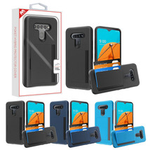 For LG K51 Wallet 3 Cards Holder Rubber Protective Pouch Hybrid Hard Cas... - $9.77