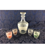 Vintage Mid-Century Stagecoach Decanter Barware Set 4 Shot Glasses Ship ... - $19.99