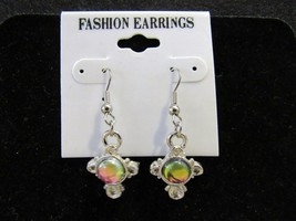 Fashion Jewelry Silver-Toned Cross Design Iridescent Ball Dangle Earrings  - $7.99