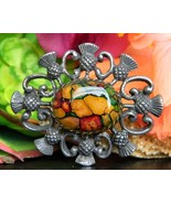 Vintage Celtic Scottish Thistle Brooch Pin Pewter Heathergems Cabochon - $24.95