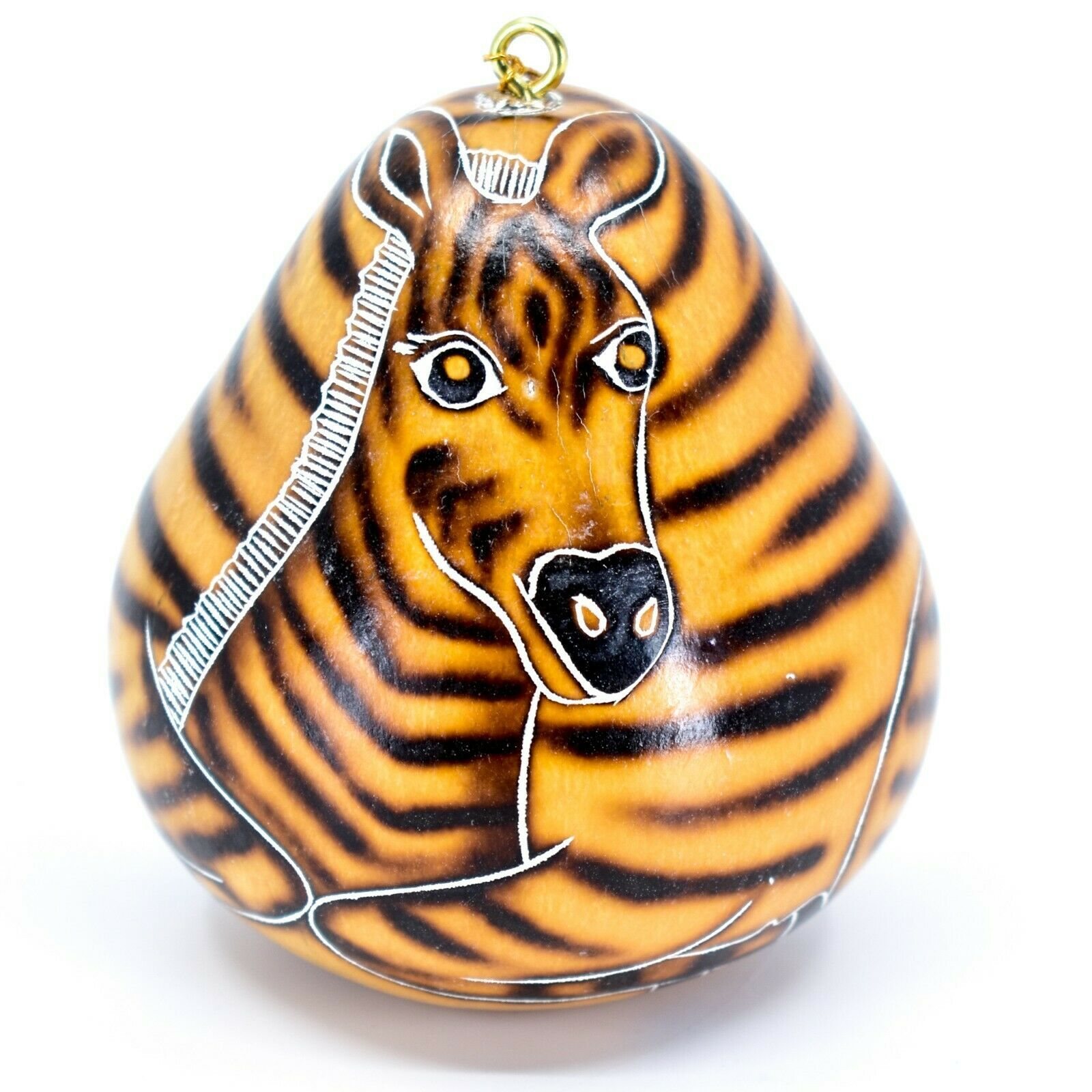 Handcrafted Carved Gourd Art Zebra Zoo Animal Ornament Made in Peru