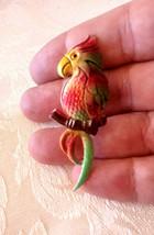 Vintage Enamel Colorful Parrot Cockatoo Bird Pin Brooch - $6.00