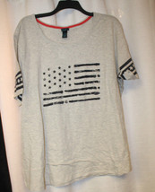 NEW WOMENS PLUS SIZE 3X GRAY 4TH OF JULY AMERICAN FLAG STARS & STRIPES S... - $18.37