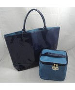 Estee Lauder Faux Patent Leather Navy Blue Tote Purse & Cosmetic Travel ... - $11.64