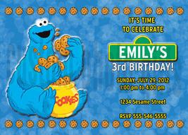 Personalized Sesame Street Cookie Monster Birthday Invitation Digital File - $8.00