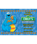 Personalized Sesame Street Cookie Monster Birthday Invitation Digital File - $8.00