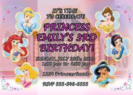 Personalized Disney Princess Birthday Invitation Digital File, You Print - $8.00