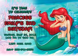 Personalized Disney Ariel The Little Mermaid Birthday Invitation Digital... - $8.00