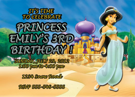 Personalized Disney Princess Jasmine Birthday Invitation Digital File, Y... - $8.00