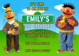 Personalized Sesame Street Bert and Ernie Birthday Invitation Digital File - $8.00