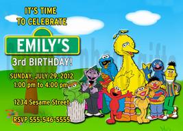 Personalized Sesame Street Birthday Invitation Digital File, You Print - $8.00