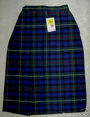 NWT SCHOOL APPAREL INC Uniform Skirt Navy Blue & Green Plaid 7584 NV/GR 10 TEEN