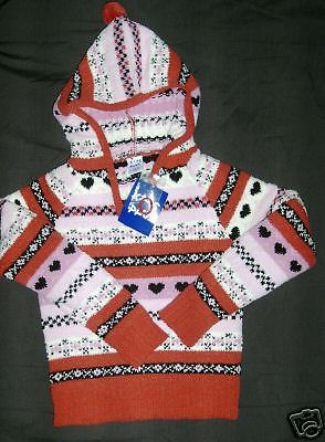 NWT KIDS PLAY PULLOVER HOODIE TOP red pink black stripes & designs girl M 5 - 6