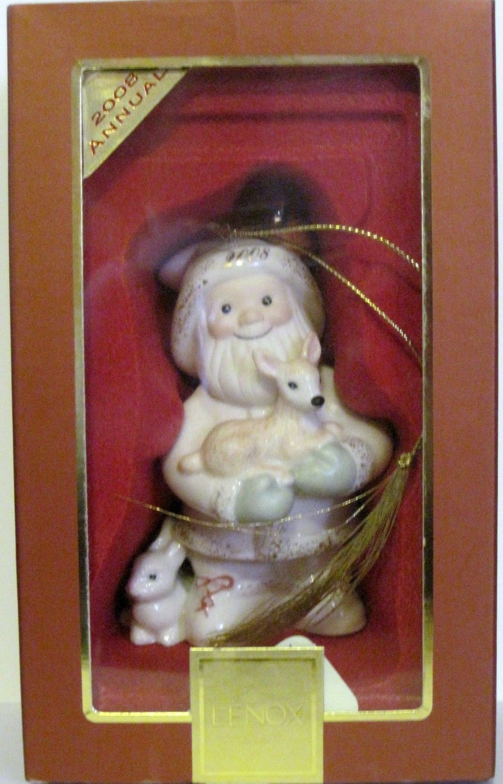 NIB Lenox 2008 Annual Santa's Woodland Friends Christmas Ornament porcelain