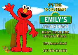 Personalized Sesame Street Elmo Birthday Invitation Digital File, You Print - $8.00