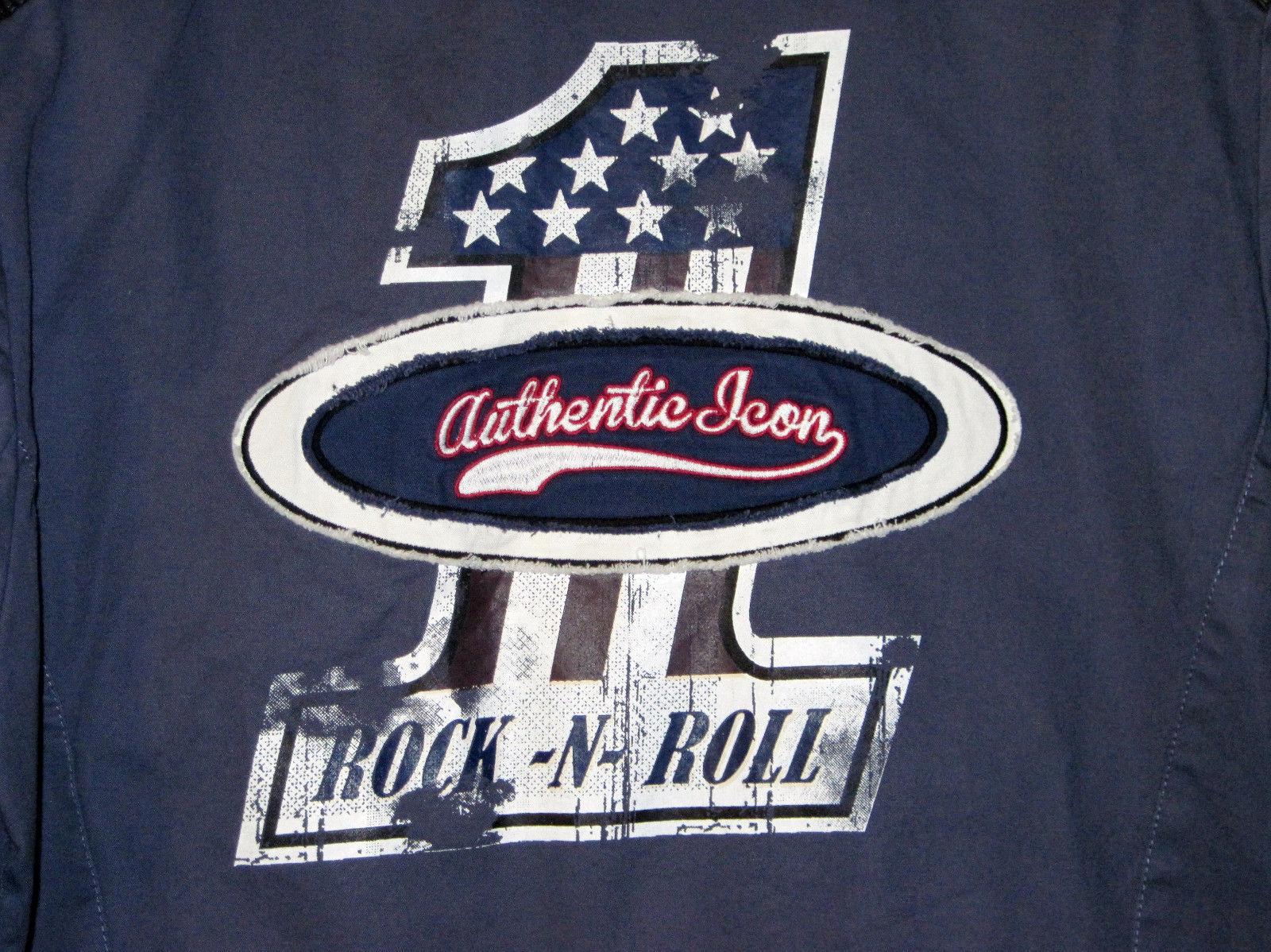 NWT Authentic Icon AMERICAN IDOL Biker Jacket Gray Patriotic Rock N Roll Men L image 8