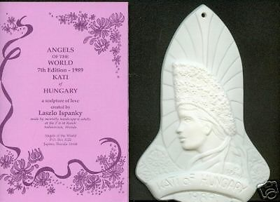1989 LASZLO ISPANKY KATI of HUNGARY ANGEL ORNAMENT 7th in Series  MIB Green Ware