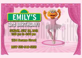 Personalized Sesame Street Zoe Birthday Invitation Digital File, You Print - $8.00