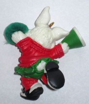1986 Hallmark Christmas Ornament Rah Rah Rabbit handcrafted mini cheerleader MIB image 3