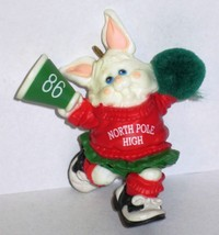 1986 Hallmark Christmas Ornament Rah Rah Rabbit handcrafted mini cheerleader MIB image 2
