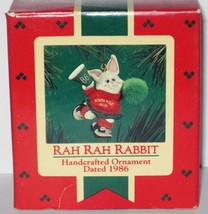 1986 Hallmark Christmas Ornament Rah Rah Rabbit handcrafted mini cheerleader MIB image 1