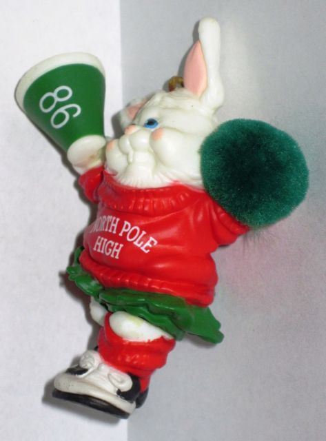 1986 Hallmark Christmas Ornament Rah Rah Rabbit handcrafted mini cheerleader MIB image 5