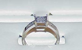 10K .40ct Diamond Invisible Set Wed Ring White Gold Size 6 Vintage  - $237.59